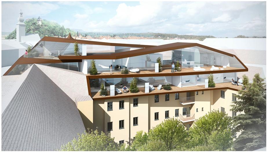 Zimmer mit Aussicht. Von innen überblickt man die ganze Stadt, von außen beeindruckt die Faltenarchitektur der neuen Dachlandschaft.