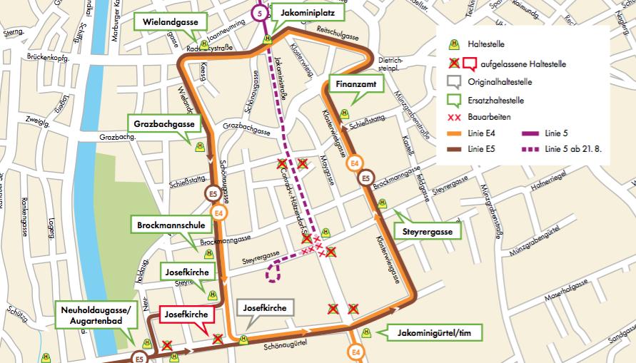Baustelle Linie 4 und 5 Graz